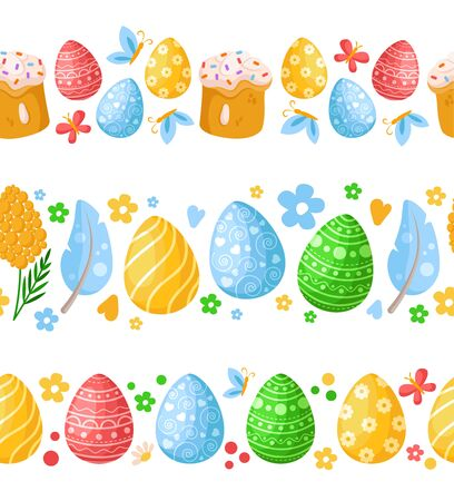 Easter Day - seamless border pattern with easter eggs, mimosa flowers, cakes, feathers on white, ornamented endless bordure or stripe for textile, fabric print, wrapping or scrapbooking paper - vector