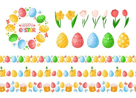 Easter Day seamless borders with easter eggs, chickens, cakes and wreath or round frame, lettering, endless bordure or stripe, isolated eggs and spring flowers on white - vector set for holiday decor