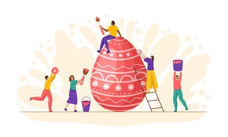 Ostertag - Miniaturmenschen schmücken riesige Ostereier, kleine Männer und Frauen mit Makro-Frühlingsferienobjekten, Teamwork-Konzept, ideal für Banner, Website, Karten - Vektor-Flach- oder handgezeichnete Charaktere Vektorgrafik