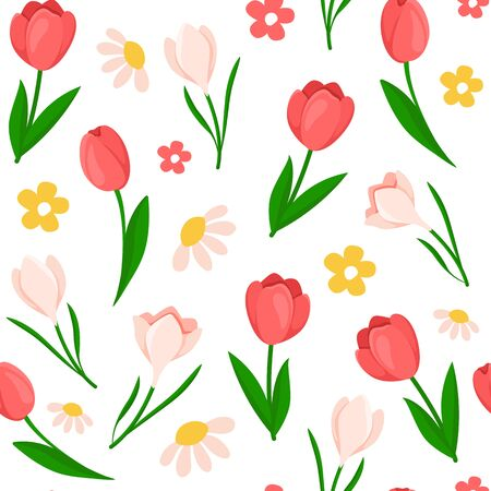 Easter Day - seamless pattern spring flowers on white background, floral ornament - tulip, snowdrop, holiday background or endless texture for textile, fabric, wrapping or scrapbooking paper - vector Stock Illustratie
