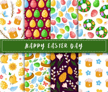 Easter Day - seamless pattern with easter eggs, weet cakes, willows, chicken, feathers on white background, background or endless texture for textile, fabric, wrapping, scrapbooking paper - vector