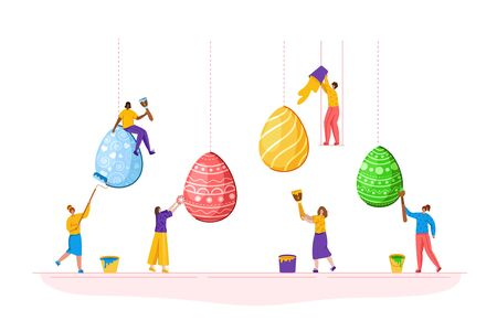 Easter Day - miniature people decorate giant easter eggs, tiny man and woman with macro spring holiday objects, teamwork concept, ideal for banner, website, cards - vector flat or handdrawn characters Stock Illustratie