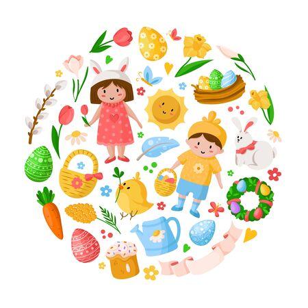 Dibujos animados de día de Pascua, niños niño niña en disfraces, huevos de Pascua, flores de primavera, conejo, pollo, rama de sauce, corona floral, tulipanes, pastel, aislado en blanco para tarjetas, impresión, sus diseños - vector Ilustración de vector