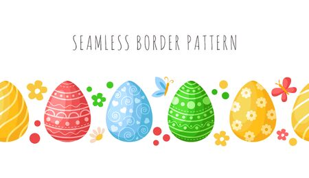 Easter Day - seamless border pattern with easter eggs, butterfly, flowers on white background, ornamented endless bordure or stripe for textile, fabric print, wrapping or scrapbooking paper - vector Stock Illustratie