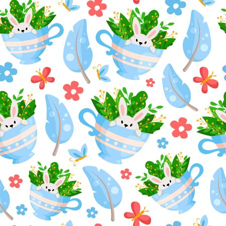 Easter Day - seamless pattern with funny cartoon rabbit or bunny in tea cup, feathers and flowers on white, background or endless texture for textile, fabric, wrapping or scrapbooking paper - vector