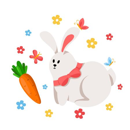 Cartoon Easter Day funny rabbit and carrot, leaves, spring flowers and butterfly, funny cartoon character - kids illustration isolated on white, ideal for greeting postcards, prints, posters - vector Stock Illustratie