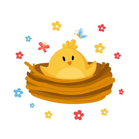 Cartoon Easter Day - little chicken or nestling in nest and spring flowers, cute cartoon kids holiday illustration, isolated character on white, ideal for greeting postcards, prints, posters - vector Stock Illustratie