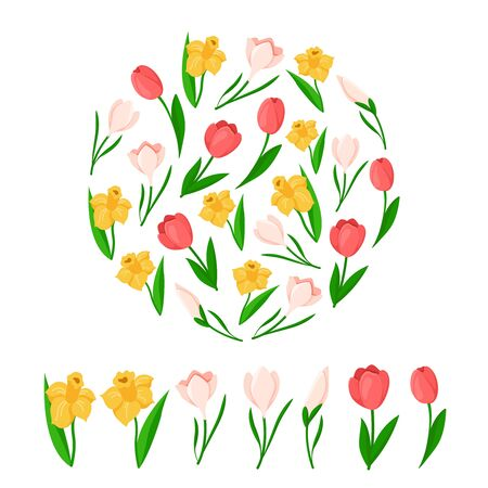 Easter Day flowers - yellow daffodil, pink tulip, snowdrop - floral round frame or composition and isolated items flowers on white background - vector set for holiday polygraphy or textile design