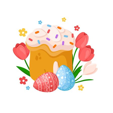 Cartoon Easter Day - sweet easter cake, spring flowers tulip, narcissus, daffodil, eggs, floral holiday bouquet, isolated on white, ideal for cute greeting postcards, prints, posters - vector