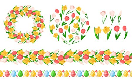 Easter Day seamless borders with easter eggs, spring flowers - yellow daffodil, pink tulip, snowdrop, wreath or round frame, endless bordure and isolated floral items - vector set for holiday design