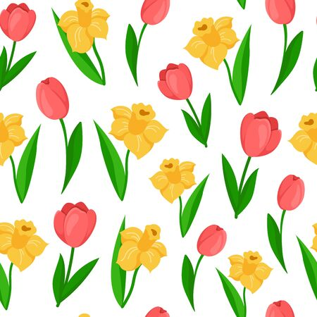 Easter Day - seamless pattern spring flowers on white background, floral ornament - tulip, daffodil, narcissus, background endless texture for textile, fabric, wrapping or scrapbooking paper - vector