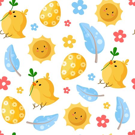 Easter Day - seamless pattern with easter eggs, chicken, feathers, smilling sun, flowers on white, holiday background or endless texture for textile, fabric, wrapping or scrapbooking paper - vector Stock Illustratie