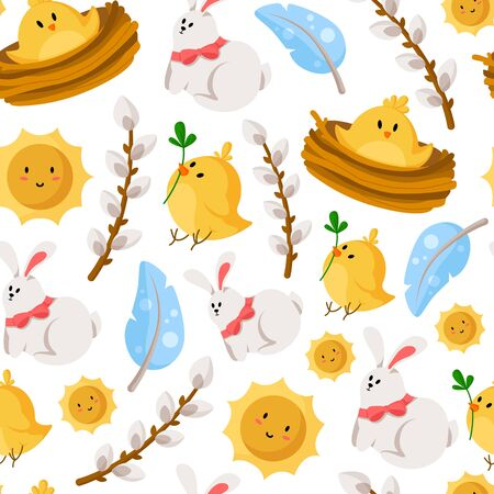 Easter Day - seamless pattern with rabbit, chicken, feathers, sun, willow branches on white, holiday background or endless texture for textile, fabric, wrapping or scrapbooking paper - vector