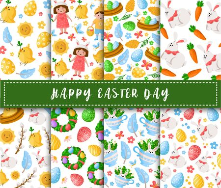 Easter Day - seamless pattern with cartoon kids - boy, girl, easter chicken, rabbit, flowers on white, background or endless texture for textile, fabric, wrapping or scrapbooking paper - vector
