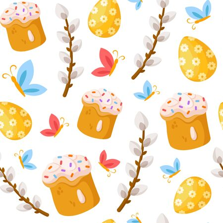 Easter Day - seamless pattern with easter sweet cake, bakery, willow, butterfly and flowers on white, holiday background or endless texture for textile, fabric, wrapping or scrapbooking paper - vector