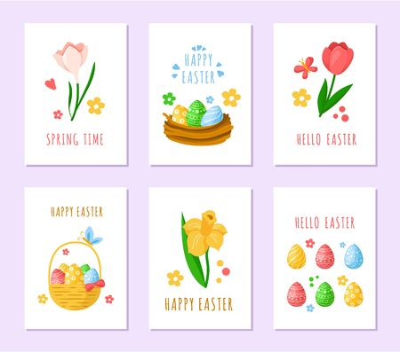 Easter Day cards - pink tulips, yelow daffodils, snowdrops and colorful easter eggs, basket and cute cartoon nest, holiday spring flowers, ready vector greeting cards or posters set, holiday decor