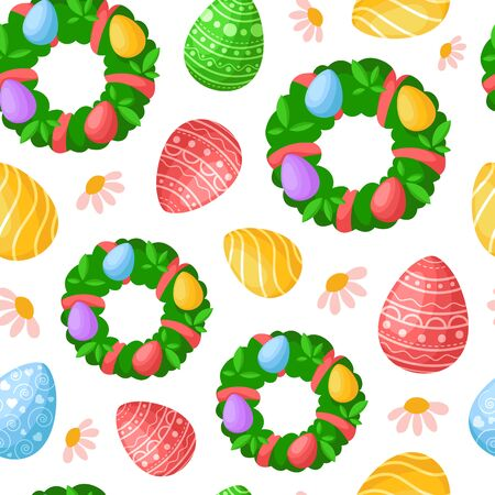 Easter Day - seamless pattern with easter eggs and floral holiday wreathes and flowers on white, decorative background or endless texture for textile, fabric, wrapping or scrapbooking paper - vector