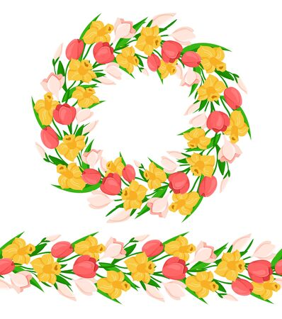 Easter Day seamless border with colorful spring flowers - yellow daffodil, pink tulip, snowdrop, and wreath or round frame, endless bordure or seamless brush - vector set for holiday design Stock Illustratie
