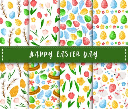 Easter Day - seamless pattern with easter eggs, spring flowers, willows, feathers on white background, background or endless texture for textile, fabric, wrapping, scrapbooking paper - vector