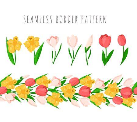 Easter Day seamless border with colorful spring flowers - yellow daffodil, pink tulip, snowdrop, endless bordure or seamless brush and isolated items on white - vector set for holiday design Stock Illustratie