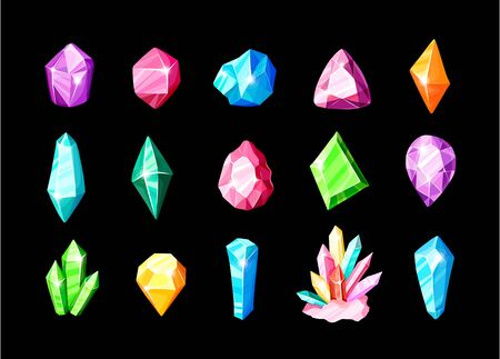 Icon vector set - colorful blue, golden, pink, violet, rainbow crystals or gems, on white background, symbols collection with gemstones, quartz, minerals, diamonds, hand drawn or doodle illustration Stockfoto - 137873476
