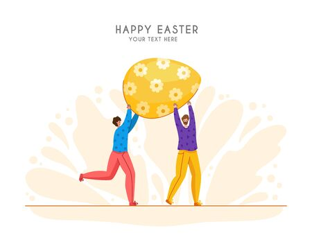 Easter Day - miniature people decorate giant easter eggs, group of tiny men with macro spring holiday object, teamwork concept, ideal for banner, website, cards - vector flat or handdrawn characters Stock Illustratie