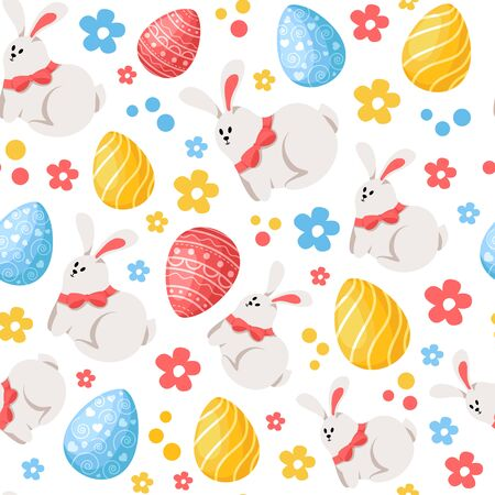 Easter Day - seamless pattern with easter eggs, funny cartoon rabbit and flowers on white, holiday background or endless texture for textile, fabric, wrapping or scrapbooking paper - vector pattern