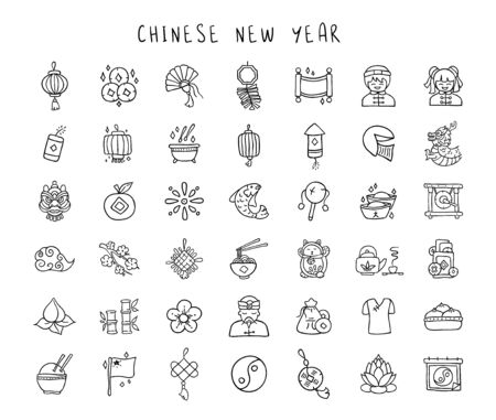 Chinese New Year line hand drawn icon set - black outline handmade icons or signs on traditional chinese holiday topic, lanterns, coins, dragons, flowers, lucky symbols and other decorations - vector 일러스트