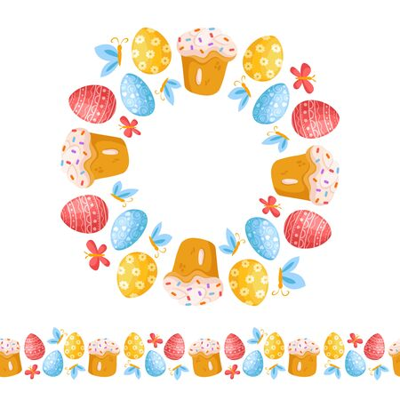 Easter Day - seamless border pattern with easter eggs, butterfly, sweet cake and wreath or round frame, ornamented endless bordure, stripe for textile, fabric, wrapping or scrapbooking paper - vector 일러스트