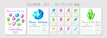 Calendar 2021 with cartoon crystals or colorful - blue, golden, pink, violet, rainbow - gems, A4 format pages and cover, on white background, quartz, minerals, diamonds, precious stones - flat vector