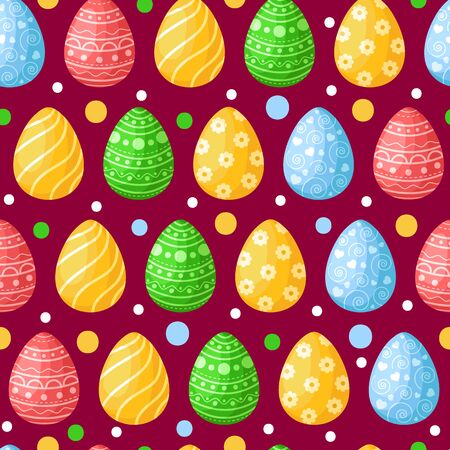 Easter Day - seamless pattern with easter eggs on dark background, colorful background or endless texture for textile decoration, ideal for fabric print, wrapping or scrapbook paper - vector