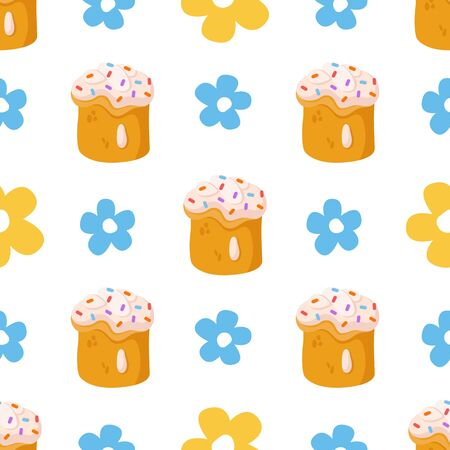 Easter Day - seamless pattern with easter sweet cake or bakery and flowers on white, holiday background or endless texture for textile, fabric, wrapping or scrapbooking paper - vector 일러스트