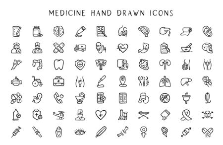 Medicine and hynecology line hand drawn icon set - black outline handmade icons or signs on medical science topic - doctor, nurse, tools, organs, women hygiene things, pills, gender symbols - vector