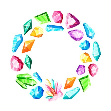 Round frame - colorful rainbow crystals or blue, golden, green, pink, violet gems, isolated icons on white background, composition with gemstones, quartz, minerals, diamonds, flat vector illustration 일러스트