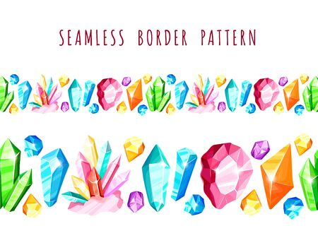 Crystal seamless border or pattern - colorful blue, golden, pink, violet, rainbow crystals or gems, on white background, endless border with gemstones, minerals, diamonds, flat vector illustration 일러스트