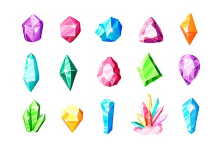 Icon vector set - colorful blue, golden, pink, violet, rainbow crystals or gems, on white background, symbols collection with gemstones, quartz, minerals, diamonds, flat illustration