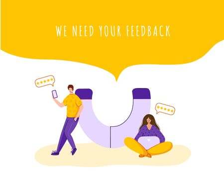 Client feedback concept, tiny man and woman with giant magnet and device, copy space - web banner with place for text, customers review and feedback, service evaluation. flat people caracters, Vector 일러스트