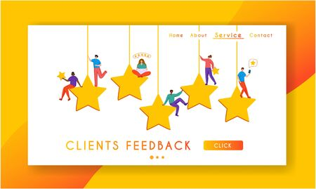 Client feedback concept landing page, tiny people and giant rating stars, web banner with place for text, sending customers review and feedback, online service evaluation. flat caracters, Vector