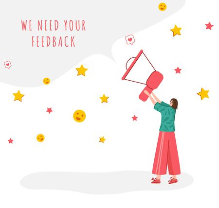 Client feedback concept, tiny girl with giant bullhorn and copy space, web banner with place for text, sending customers review and feedback, online service evaluation. flat people caracters, Vector