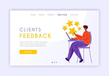 Client feedback concept landing page, tiny man and giant rating stars, web banner with place for text, sending customers review and feedback, online service evaluation. flat people caracters, Vector 일러스트