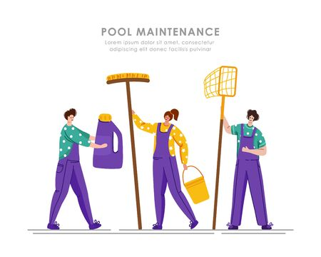 Pool maintenance or cleaning service Illustration