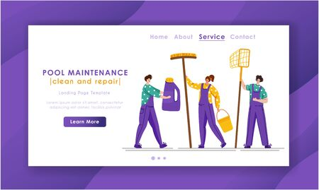Landing page - Pool maintenance or cleaning service, group of miniature people in uniform, cleaning products for swimming pool, workers with equipment - test water, net, broom, flat vector for website