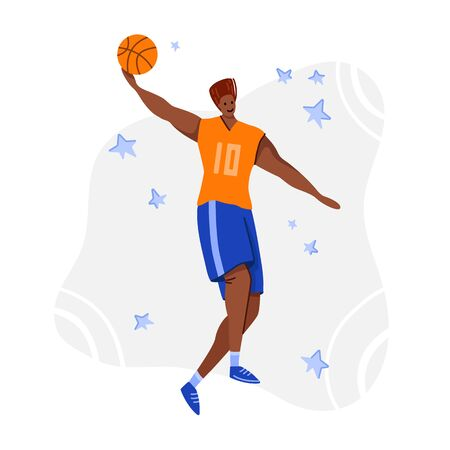 Basketball player with ball on playground, African American man playing match, guy jumps and throws the ball at goal, muscular player train in basketball, flat people - vector for poster, merch, print