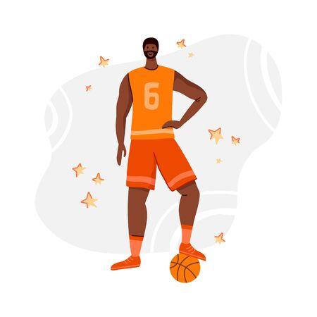 Jugador de baloncesto con pelota en el patio de recreo, hombre afroamericano jugando, chico se para y sostiene una pelota deportiva, tren de jugador negro musculoso en baloncesto, gente plana - vector para póster, merch, impresión