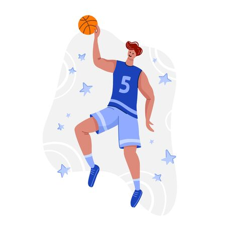 Basketball player with ball on playground, young muscular man in uniform playing match, guy jumping and holds sports ball, player train in basketball, flat people - isolated vector for poster, merch