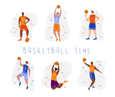 Basketball players with ball - set of isolated people characters, African American and white men playing, guys jumping with ball, muscular black basketball players - flat vector for poster, merch 일러스트