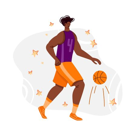 Basketball player with ball on playground, African American man playing match, guy running and holds sports ball, muscular black player train basketball, flat people - vector for poster, merch, print