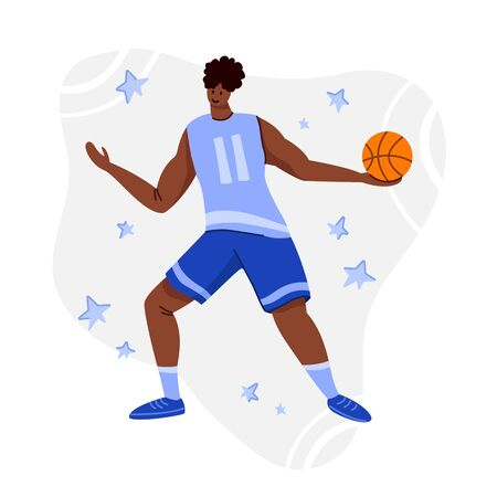 Basketball player with ball on playground, African American man playing match, guy jumping and holds sports ball, muscular black player train basketball, flat people - vector for poster, merch, print