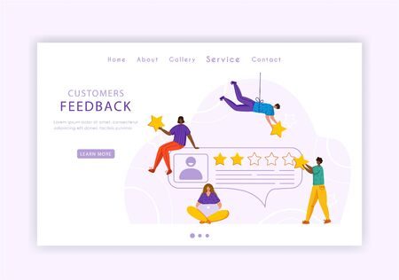 Client feedback concept landing page, miniature tiny people and rating stars, web banner with place for text, sending customers review and feedback, service evaluation. flat people caracters, Vector