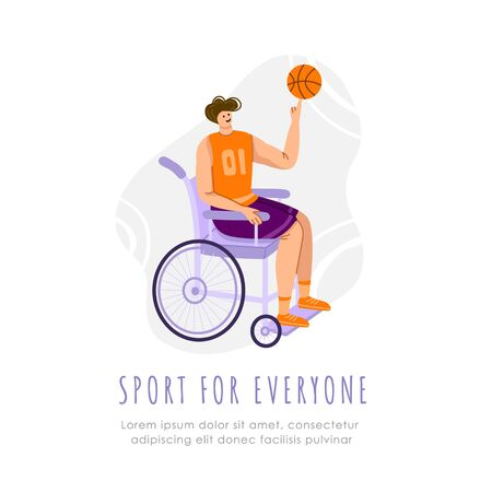 Disabled basketball player with ball in wheelchair on playground, young muscular man with physical disorder or impairment playing basketball, sport inclusion concept, flat cartoon people - vector 일러스트